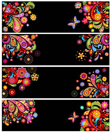 flowerpower: Horizontal banners with abstract floral pattern