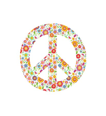 flowerpower: Peace symbol with flowers print Illustration