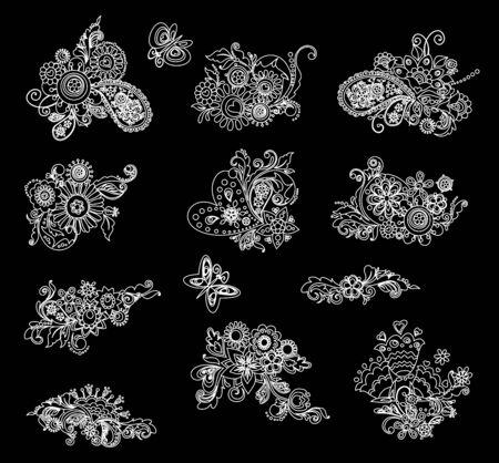 mhendi: Black and white mhendi design elements Illustration