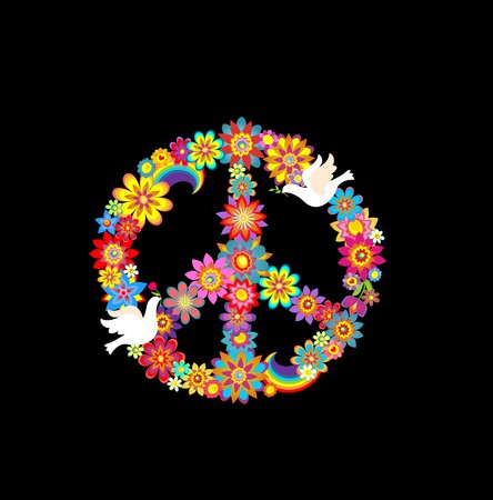 flowerpower: Peace flower symbol with paper doves