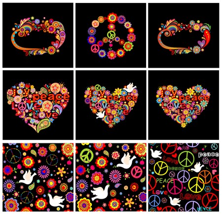flowerpower: Set of hippie wallpapers, frames, heart shapes and peace symbol Illustration