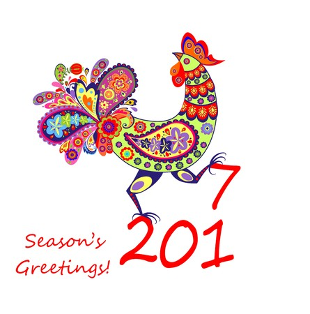new year s card: Decorative rooster