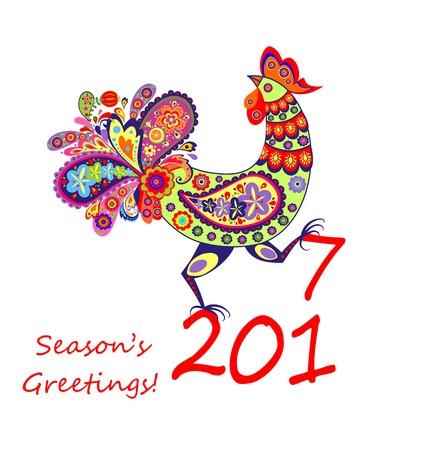 seasonal greeting: Decorative rooster
