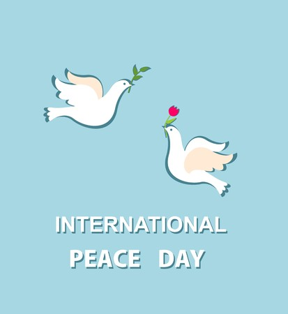 Cute greeting card for International Peace day with lovely pair of doves