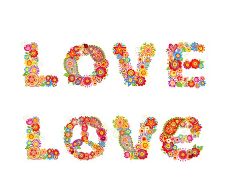flowerpower: Flowers hippie print with Love letter
