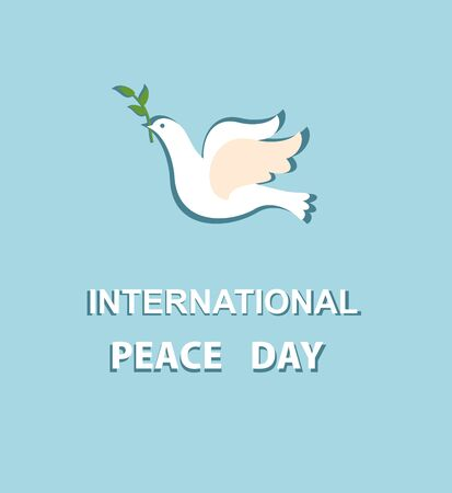 Greeting card with paper dove for International Peace day Illustration
