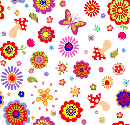 flowerpower: Childish wallpaper with colorful abstract flowers and mushrooms