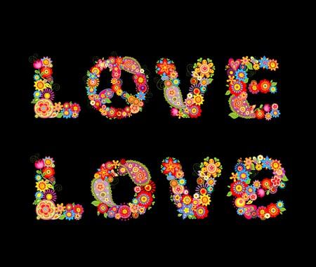 flowerpower: Flowers hippie print. Love Illustration