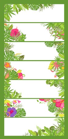 summery: Summery floral horizontal banners with tropical flowers Illustration