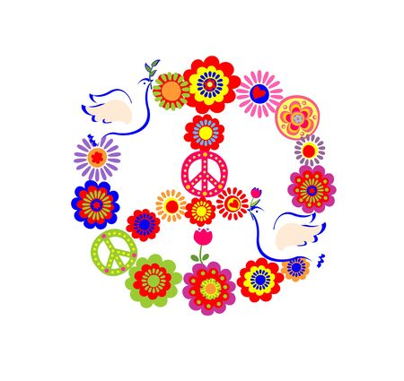 flowerpower: Applique with peace flower symbol with doves and colorful flowers