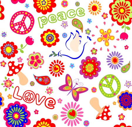Childish seamless wallpaper with colorful abstract flowers, hippie symbolic, mushrooms and dove Illustration