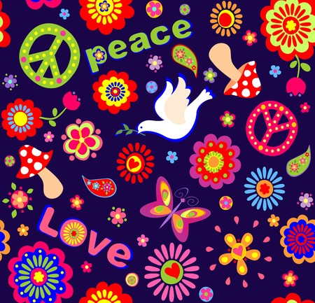 flowerpower: Childish wallpaper with colorful abstract flowers, hippie symbolic, mushrooms and dove
