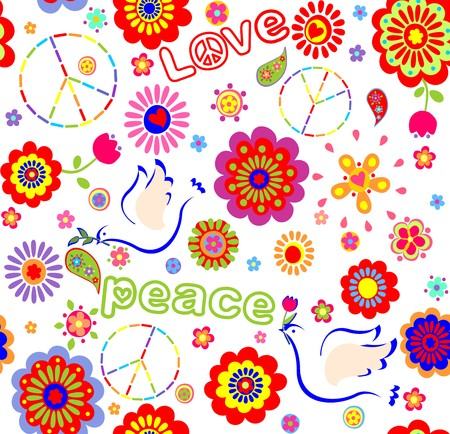 flowerpower: Childish wrapper with embroidered peace symbol, colorful abstract flowers, and doves