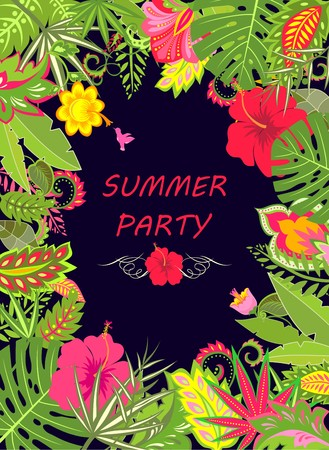 caribbean party: Banner with exotic leaves for summer holidays