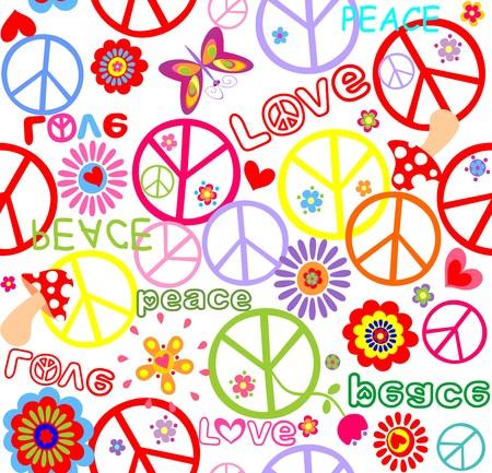 flowerpower: Hippie childish wallpaper with mushroom