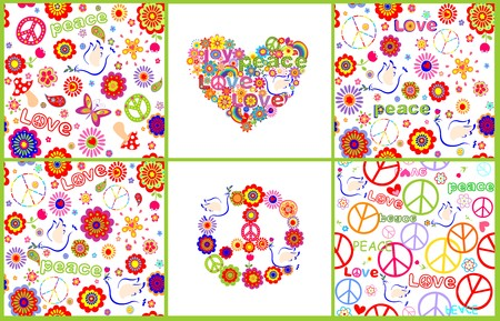 sixties: Set of wallpaper with colorful abstract flowers, hippie symbolic, mushrooms and doves