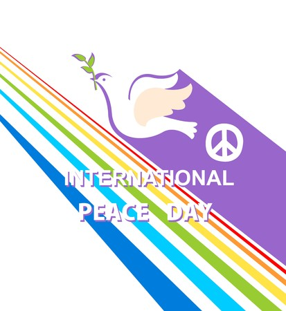 Greeting card for International Peace day with dove, peace symbol and rainbow Illustration