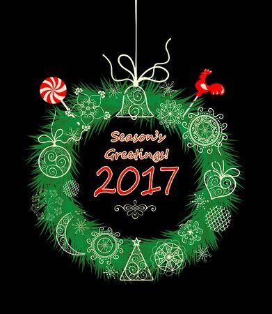 season's greeting: Seasons greeting with xmas hanging decorative wreath