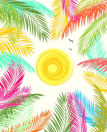 Summery poster with colorful palm leaves and sun Illustration