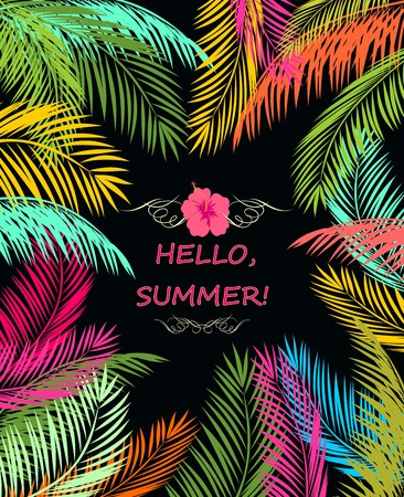 Summery poster with colorful palm leaves Illustration