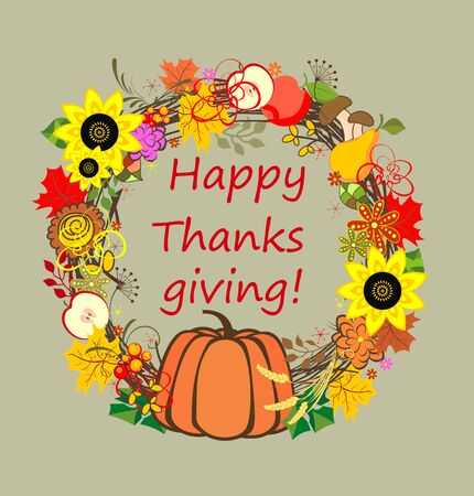 thanks giving: Decorative floral frame for Thanksgiving