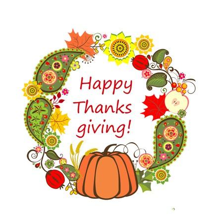 Decorative floral frame with pumpkin for Thanksgiving Illustration