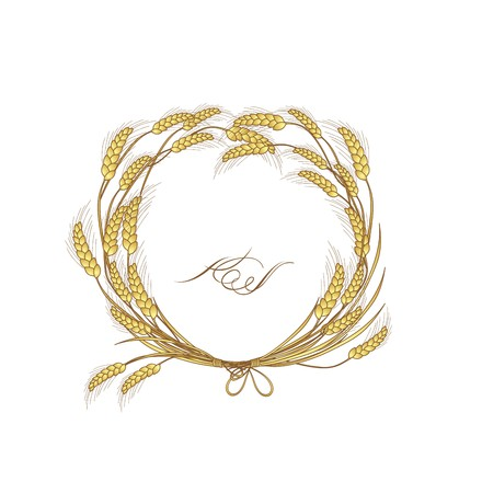 Floral wreath with wheat Illustration