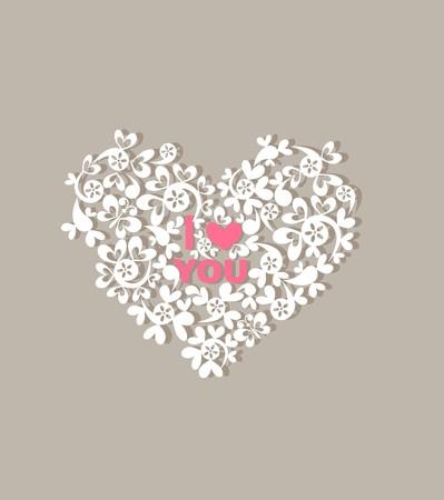 silhouette fleur: Carte de voeux avec beau papier coeur décoratif