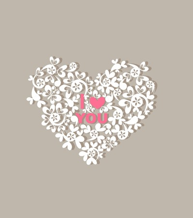paper heart: Greeting card with beautiful paper decorative heart