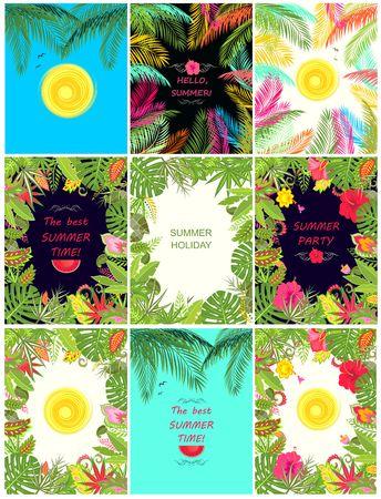 borde de flores: Colección de bandera tropical veraniega