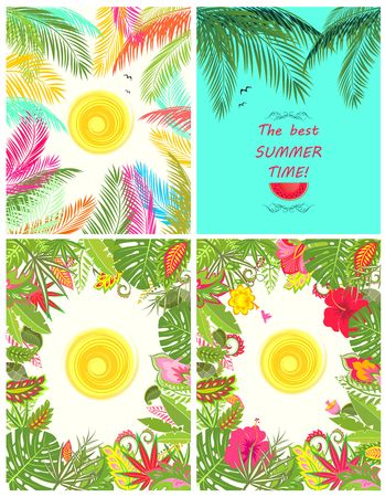 summery: Collection of summery tropical poster