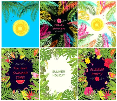 summery: Collection of summery tropical vertical poster