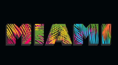 Miami lettering with colorful palm leaves Illustration