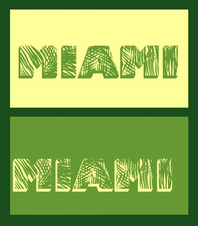 carribean: Miami lettering with palm leaves