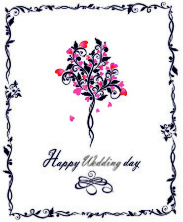 bridal bouquet: Wedding card with beautiful decorative tree Illustration