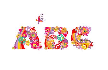 Hippie alphabet. ABC