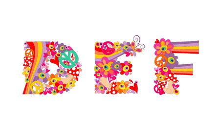 flowerpower: Hippie childish alphabet with colorful abstract flowers, rainbow and mushrooms. DEF