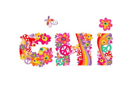 flowerpower: Hippie childish alphabet with colorful abstract flowers, rainbow and mushrooms. GHI
