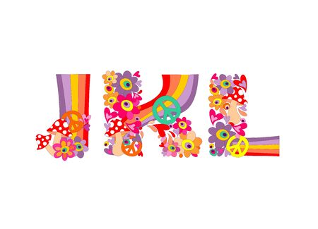 flowerpower: Hippie childish alphabet with colorful abstract flowers, rainbow and mushrooms. J, K, L