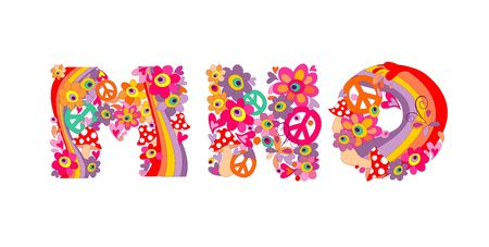 flowerpower: Hippie childish alphabet with colorful abstract flowers, rainbow and mushrooms. M, N, O