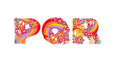 alfabeto infantil hippie con flores abstractas de colores del arco iris, y las setas. P, Q, R Ilustración de vector