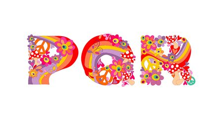 kiddie: Hippie childish alphabet with colorful abstract flowers, rainbow and mushrooms. P, Q, R