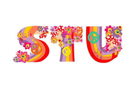 Hippie childish alphabet with colorful abstract flowers, rainbow and mushrooms. S, T, U Illustration