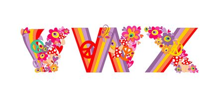 flowerpower: Hippie childish alphabet with colorful abstract flowers, rainbow and mushrooms. V, W, X