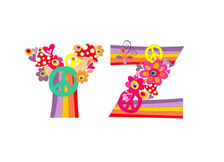 Hippie childish alphabet with colorful abstract flowers, rainbow and mushrooms. Y, Z