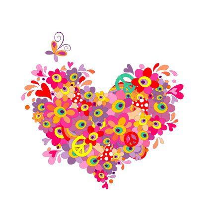 simbolo della pace: cuore Hippie con fiori astratti colorati, funghi, simbolo di pace e arcobaleno