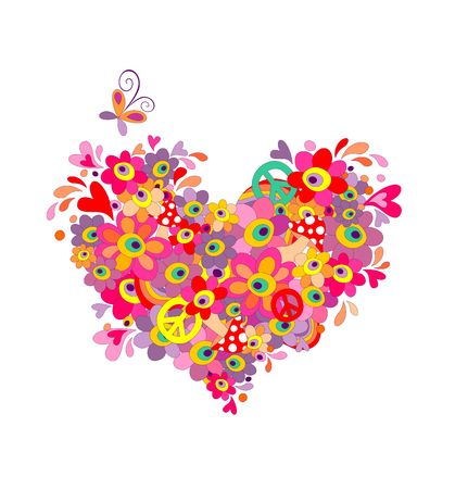 flowerpower: Hippie heart with abstract colorful flowers, mushrooms, peace symbol and rainbow Illustration