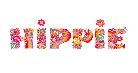 Hippie lettering with abstract colorful flowers Illustration