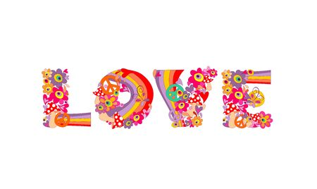 Love lettering with abstract colorful flowers