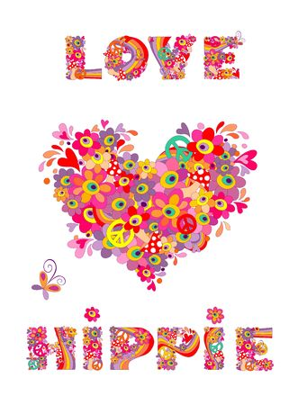 flowerpower: Hippie print with heart shape, abstract colorful flowers, mushrooms and rainbow